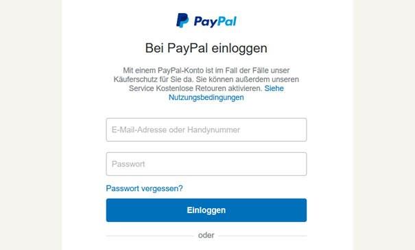Weiterleitung zu PayPal
