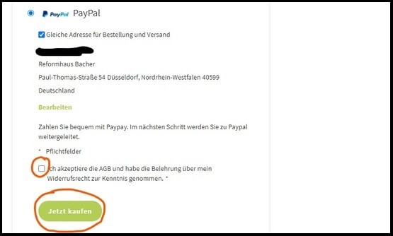 PayPal Zahlung Reformhaus Bacher