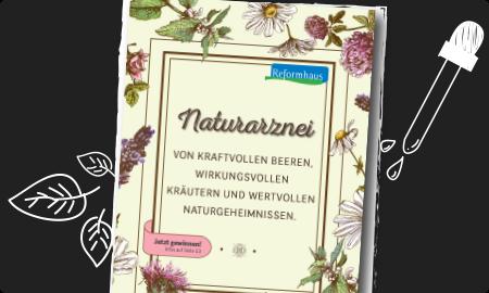 schwarzer Hintergrund mit Naturarzneiprospekt